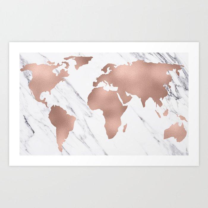 marble world map rose gold pink art print