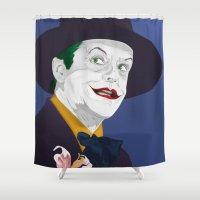jack nicholson Shower Curtains featuring Joker Nicholson by FSDisseny