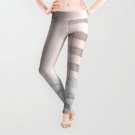 Rose Gold Pink Stripes and Marble Design Leggings