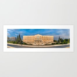 Panoramic view of the Greek Parliament buiding, Athens, Greece. Art Print