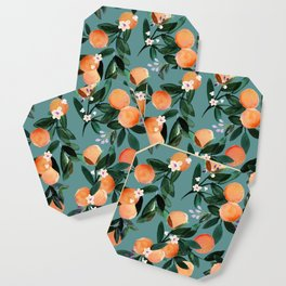 Dear Clementine - oranges teal by Crystal Walen Coaster