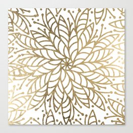 Elegant white faux gold floral trendy mandala Canvas Print