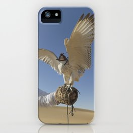 Falconer With Hooded Falcon In The Desert iPhone Case