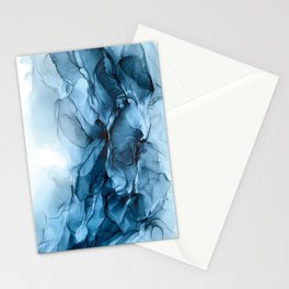 Deep Blue Flowing Water Abstract Painting Stationery Cards