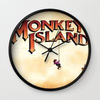 monkey island Wall Clocks featuring Monkey Island - Treasure found! by Sberla