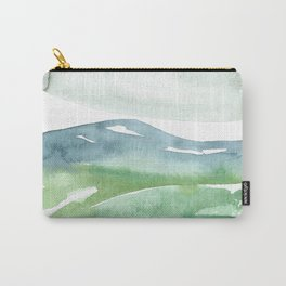 watercolor abstract landscape // mountains meadow field clouds blue green grey Carry-All Pouch