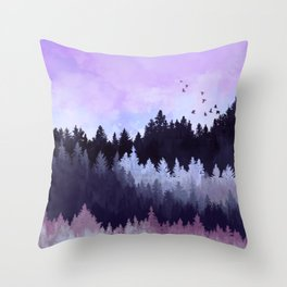 Violet Forest Throw Pillow