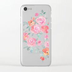 Amelia Floral in Pink and Peach Watercolor Clear iPhone Case
