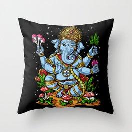 Ganesha Hindu Psychedelic Elephant God Throw Pillow