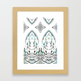 Folk Art Mirror Modern Geometric Pattern Framed Art Print