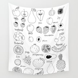 Hand  drawn collection of various fruits Wall Tapestry