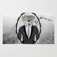 english bulldog Area & Throw Rugs featuring Mr. Dandy - English Bulldog by Rozenblyum Couture
