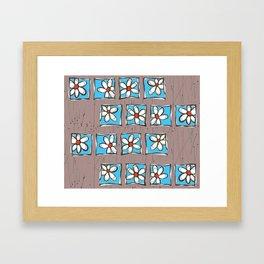 Blue Flowers on Brown Framed Art Print