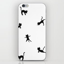 Black cats doing yoga - design for cats and yoga lovers iPhone Skin
