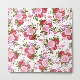 Tropical Pink Flamingo Red Pink Green Carnations Floral Metal Print