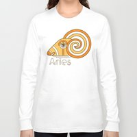 deco Long Sleeve T-shirts featuring Deco Aries by Jorge Garza