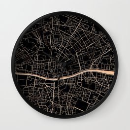 Gold and black Dublin map Wall Clock