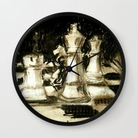 chess Wall Clocks featuring Chess by James Peart