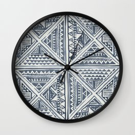 Simply Tribal Tile in Indigo Blue on Lunar Gray Wall Clock