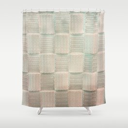 Interlace White Satin Shower Curtain