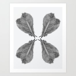 Feather Fan black and white Art Print