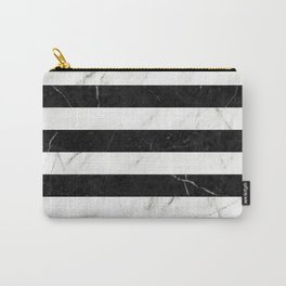 Marble Stripes Pattern 2 - Black and White Carry-All Pouch
