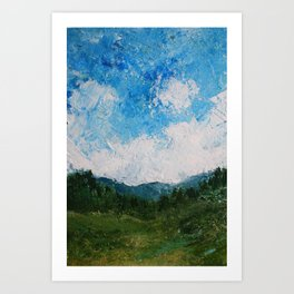 A Forest Under Blue Skies Impasto Painting Art Print