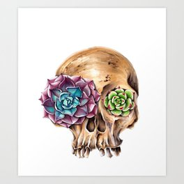 Blooming skull Art Print