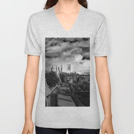 York Minster and walls in the sun Unisex V-Neck