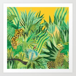 Leopard and a Chita Art Print