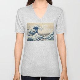 The Great Wave Off Kanagawa - Katsushika Hokusai Unisex V-Neck