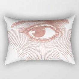 I see you. Rose Gold Pink Quartz on White Rectangular Pillow
