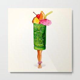 Tiki Cocktail Pin-Up - Tiki Mug Metal Print