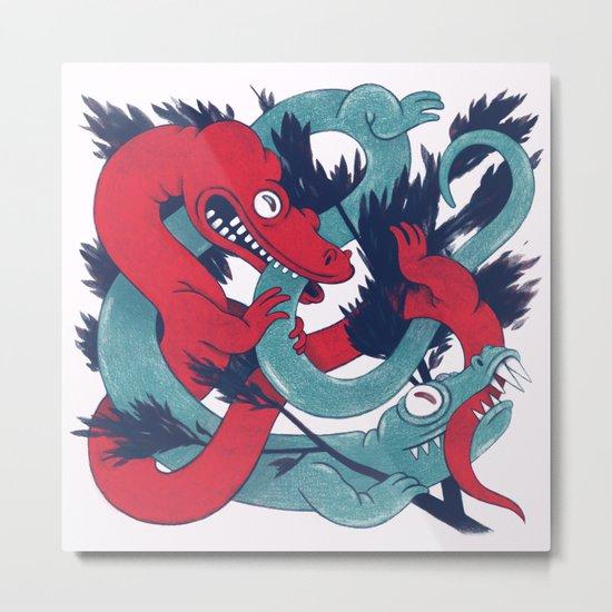 Fighting Lizards Metal Print