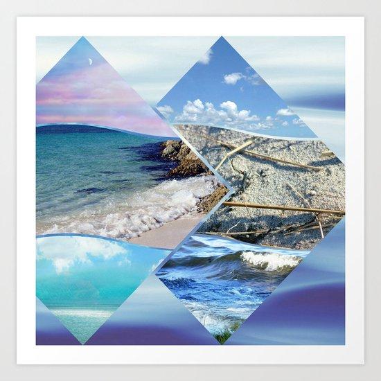 Sea, Sand and Sky Collage Art Print