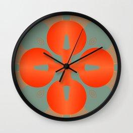 Bold Orange Pattern Abstract Wall Clock
