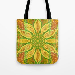 Sun Flower, bohemian floral, yellow, green & orange Tote Bag