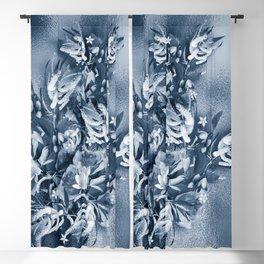 Beautiful flower bouquet on a rippled deep blue background Blackout Curtain