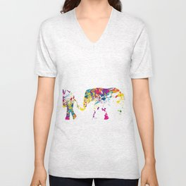Three happy elefants Unisex V-Neck