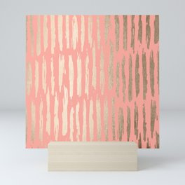 Vertical Dash Tahitian Gold on Coral Pink Stripes Mini Art Print