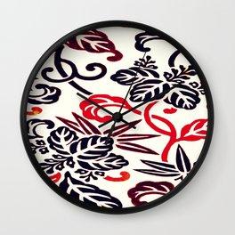 Japanese Leaves Burgundy/ Coral Wall Clock