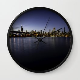 Beautiful Chicago Skyline at dusk  Wall Clock