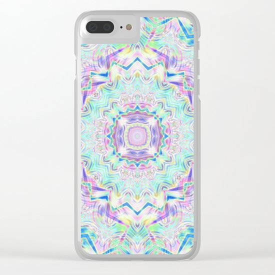 Gentle colors of the ornament . Turquoise -pink . Clear iPhone Case