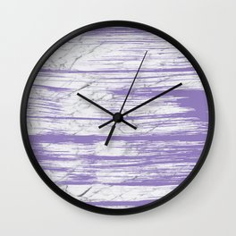 Modern abstract violet watercolor brushstrokes marble pattern Wall Clock