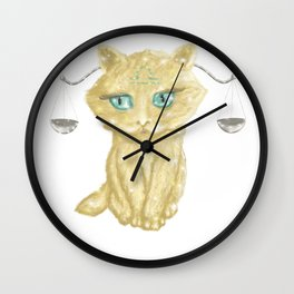 Libra Zodiac Sign Kitty Wall Clock