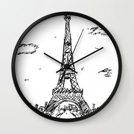 Paris Eiffel Tower Drawing Wall Clock