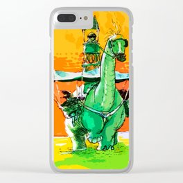 Dino Walk Clear iPhone Case
