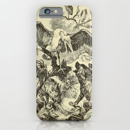 Vintage Print - Animals in Action (1901) - Marabou Stork in Battle with Hyenas iPhone Case