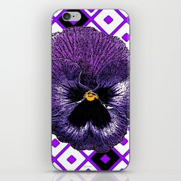 Purple & Black Pansy White Pattern Art iPhone Skin