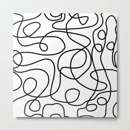 Doodle Line Art | Black on White Metal Print